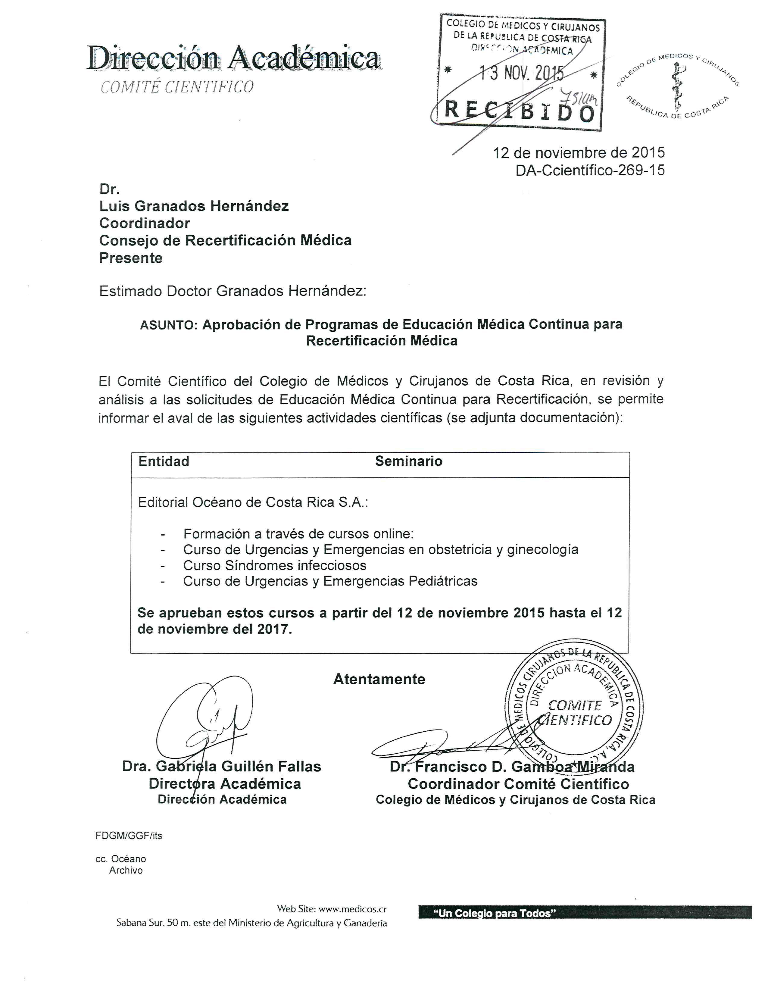 DA-Ccientifico-269-15, Recertificación Médica, Océano